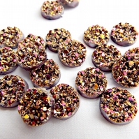 20 Gold & Pink Resin Druzy Cabochons - 12mm Faux Druzy
