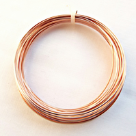 Coil of Square Rose Gold Copper Wire 0.8mm - 20 Gauge - 6 Metres
