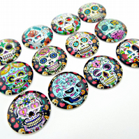 12 Skull Cabochons - 20mm Sugar Skull Cabs - 1 of Each Design