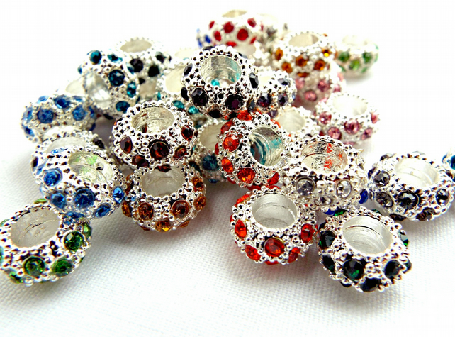 10 Silver Rhinestone Beads - European Style - 11mm Metal Beads