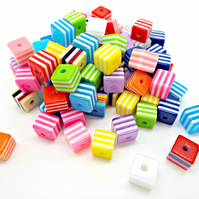 Pack of 50 Resin Cube Beads in Mixed Stripe Designs