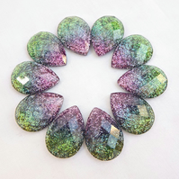 10 Faceted Resin Teardrop Glitter Cabochons - Green, Purple & Pink