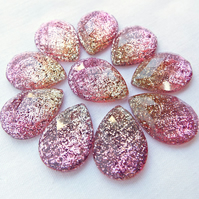 Faceted Resin Teardrop Glitter Cabochons - Pack of 10 - Pink & Gold