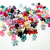 100 Mixed Color 13mm Pearl Acrylic Flower Beads