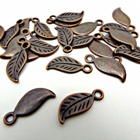 20 Antique Copper Tone Leaf Charms - 17mm x 8mm