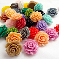 30 Mixed Colour Rose Cabochons - 18-20mm
