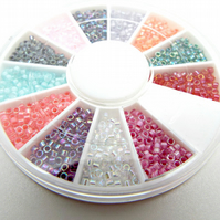 12 Colour Seed Beads, Miyuki AB Beads, 12 Colour Wheel