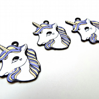 3 Metal Unicorn Pendants, 35mm Enamel Pendants, Large Unicorn Charms