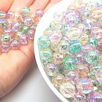 10mm Glitter Beads, 50 Acrylic Beads, Clear with Glitter Core, Pastel Beads