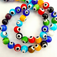 8mm Evil Eye Beads, Mixed Colours, Strand of 48, Lampwork Glass Beads