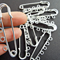 Pack of 10 x 50mm Silver 5 Loop Kilt Pin Brooch Blanks