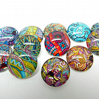 12 Zen Cabochons, 16mm Glass Cabs, 12 Designs, One of Each Design