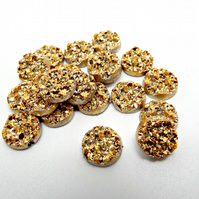 20 Gold Round Resin Druzy Cabochons - 12mm Faux Druzy Cabs