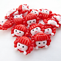 Pack of 25 Girl Face Buttons - 2 Part Red Acrylic Shank Buttons