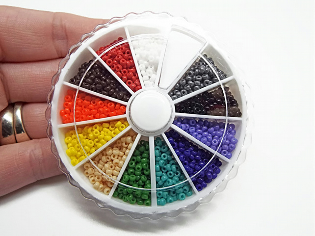 1800 Opaque Miyuki Size 11 Rocaille Seed Beads in a 12 Colour Wheel