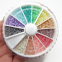 1800 Miyuki Size 11 Pastel Ceylon Seed Beads in a 12 Colour Wheel