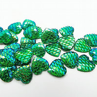12mm Mermaid Scale Style Green AB Heart Cabochons - Pack of 20