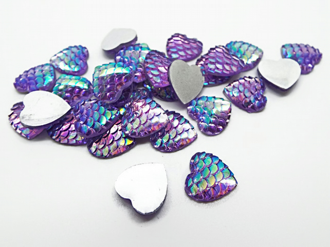 12mm Mermaid Scale Style Purple AB Heart Cabochons - Pack of 20