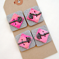 Handmade Polymer Clay Focal Craft Buttons - Set of 4 in Pink, Silver & Grey