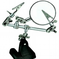 Third Hand Tool With Clips & Magnifier - Heavy Cast Iron Base
