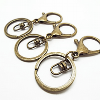 Pack of 3 Large Bronze Key Ring Bases - 67mm Keychains with Lobster Clasp