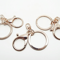 Pack of 3 Large Rose Gold Key Ring Bases - 67mm Keychains with Lobster Clasp