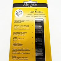 33 Craft Needles Starter Pack - John James - Beading, Tapestry, Hand Sewing