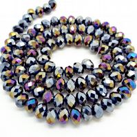 Strand Purple Blue Crystal Rondelle Beads 6x4mm - Electroplated Glass Beads