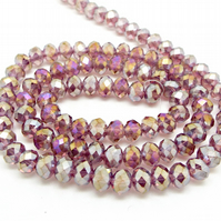 Strand Pink Purple Crystal Rondelle Beads 6x4mm - Electroplated Glass Beads