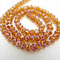Strand Pink Orange AB Crystal Rondelle Beads 6x4mm - Electroplated Glass Beads