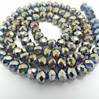 Strand of Dark Grey AB Crystal Rondelle Beads 6x4mm - Electroplated Glass Beads