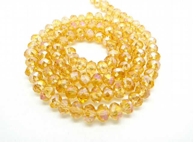Strand of Golden Yellow Crystal Rondelle Beads 6x4mm - Electroplated Glass Beads