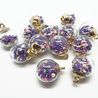 5 Purple Sparkle Glass Globe Jewellery Charms with Glitter Sequin Inclusions