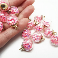 5 Pink Sparkle Glass Globe Jewellery Charms with Glitter Sequin Inclusions