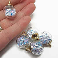 5 White Sparkle Glass Globe Jewellery Charms with Glitter Sequin Inclusions