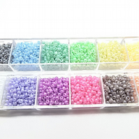 3600 Rainbow Seed Beads, 12 Colours, Boxed Bead Kit, 2mm Beads