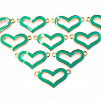 10 Green and Gold Enamel Heart Jewellery Connectors - 30mm Metal Links