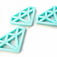 3 Large 48mm Diamond Shaped Resin Pendants in Baby Blue