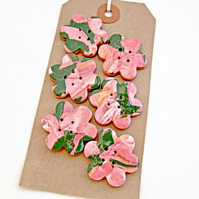 Handmade Pink & Green Polymer Clay Focal Craft Buttons - Set of 6 with 4 Holes