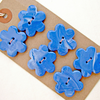 Handmade Blue & White Polymer Clay Focal Flower Buttons - Set of 6 with 2 Holes