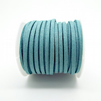 5 Metres Pale Turquoise Blue Faux Suede Jewellery Cord - 3x1.5mm