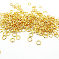 200 Gold Tone Brass Base Jump Rings - 6mm