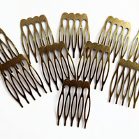 10 Bronze Tone Hair Comb Blanks