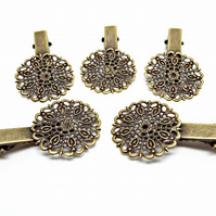 10 Bronze Tone Alligator Style Metal Hair Clips with Filigree Cabochon Base