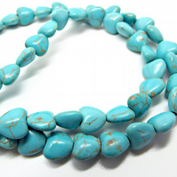 8x8mm Blue Magnesite Heart Beads - 15 Inch Strand - Approx. 55 Beads