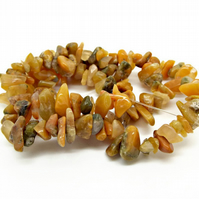 Natural Golden Jade Gemstone Chip Strand - Medium Chip 8-10mm