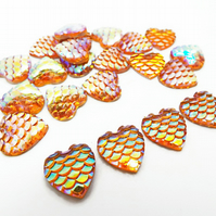 12mm Mermaid Scale Style Orange AB Heart Cabochons - Pack of 20