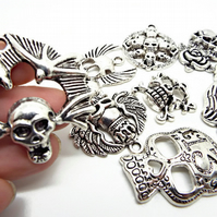 Pack of 10 Skull & Halloween Pendants in Antique Silver Tone