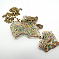 Handmade Resin & Glitter Autumn Leaf Necklace with Bronze Metal Leaf Charms