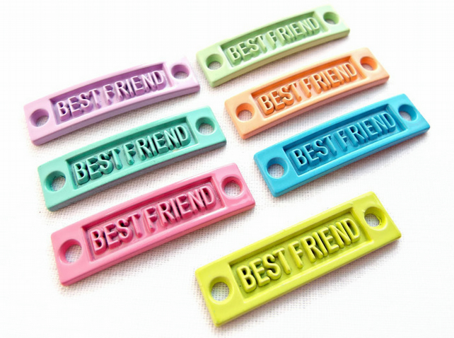 10 Mixed Colour Metal Best Friend Jewellery Connectors - Slightly Curved - 35mm